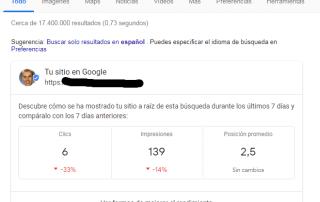Datos de Search Console en los resultados de búsqueda.