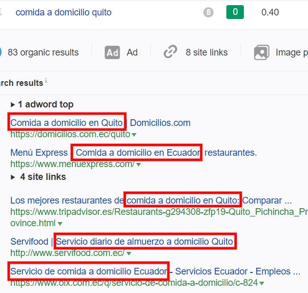 Resultados de búsqueda que usan la palabra clave en el title.