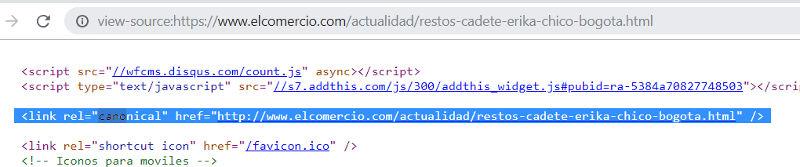 Rel canonical de El Comercio.