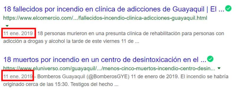 Fecha de publicación en Google.