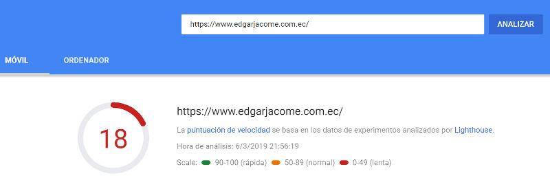 Velocidad de carga del home del sitio de Edgar Jácome.