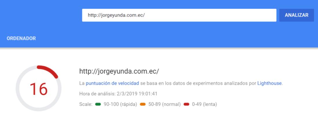 Velocidad de carga de la página del inicio del sitio de Yunda.