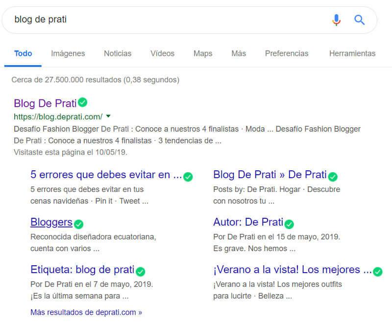 El blog de De Prati en los resultados de búsqueda.