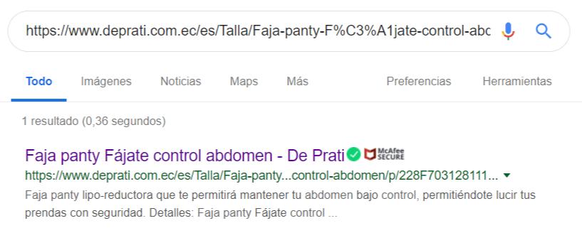 Resultado de búsqueda de un producto de De Prati en Google.