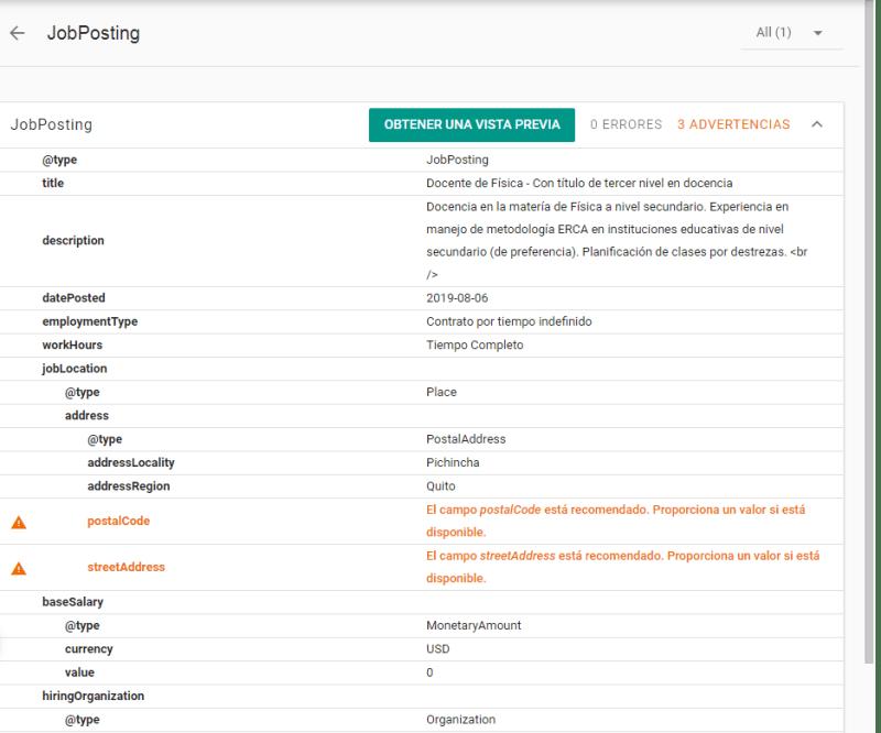 Datos estructurados para empleos en Computrabajo.