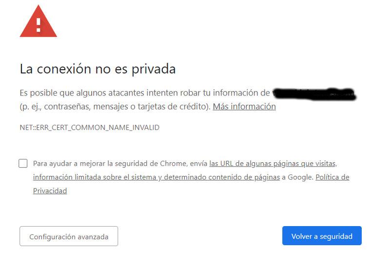 Error de seguridad, sitio sin certificado ssl.