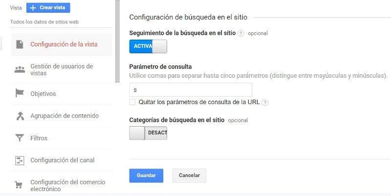 Google Analytics: configurar la búsqueda interna.