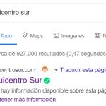 Sitio web de Quicentro Sur en Google.
