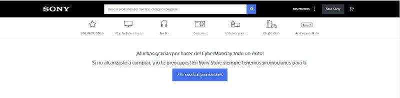 Página de aterrizaje de Sony.