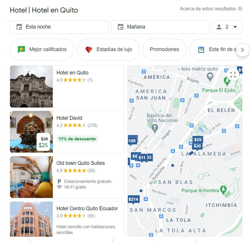 Búsqueda por hoteles en Quito.