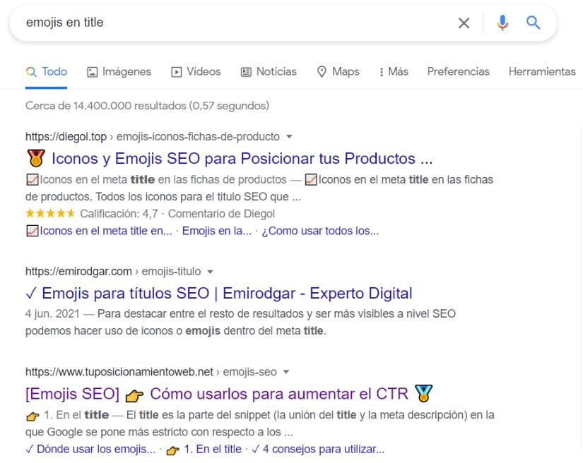 Google muestra emojis en el title.
