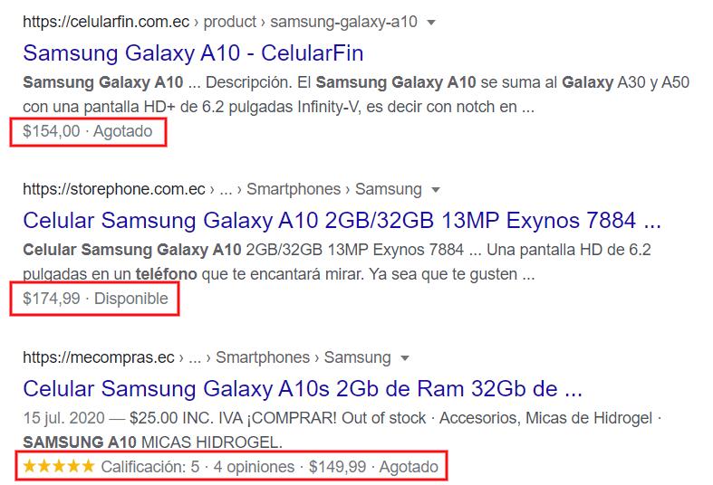 Fragmentos enriquecidos en Google.