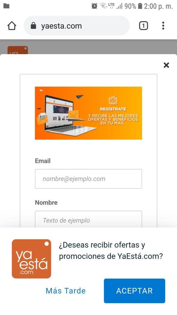 Página de inicio de YaEstá con pop-up para suscribirse al newsletter y otro pop-up para recibir notificaciones push.