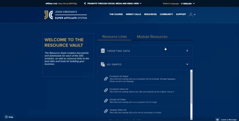 John crestani super affiliate system download of resource links and module data