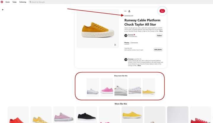 screenshot taken from the converse website