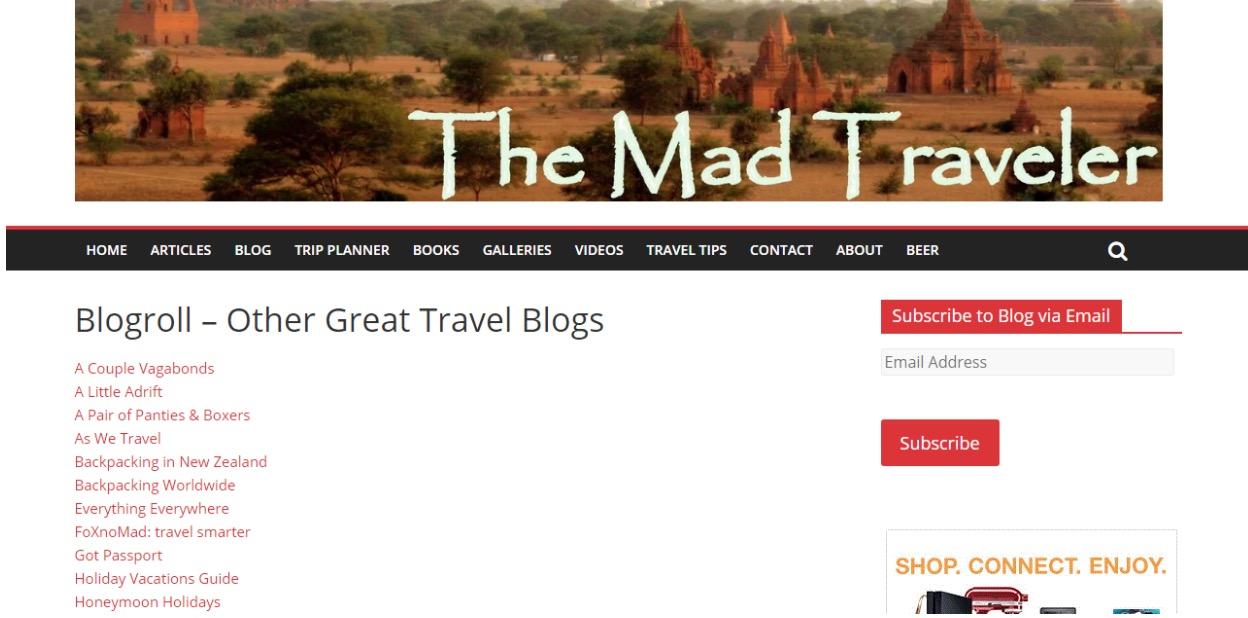 travel blog lists