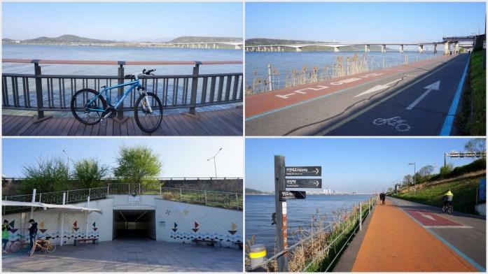 Riding bike along Han River
