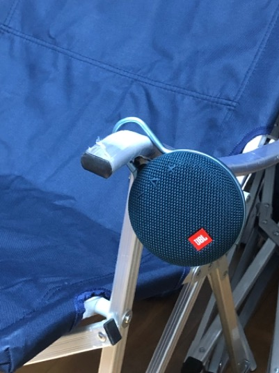 jbl clip 3 hung on the chair arm