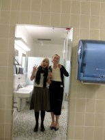 Me & Sis. Hurst taking selfies in bathroom while waiting for one of our companions #mtcbathroom #no filter #missionaryhashtags