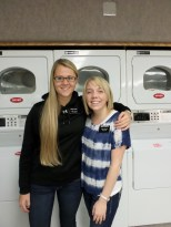 Sis. Lyman (our sister training leader) & me in laundry room! There isn't much to do in there.