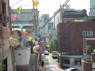 Near the temple (lanterns are for Budha's birthday)