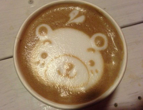 Adorable teddy bear latte