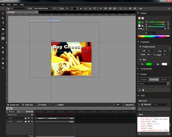 Interfaz Google web designer