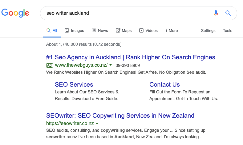 seo writer ranking number one for seo writer auckland