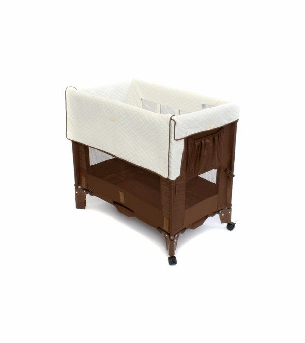 Arm' Reach Mini Convertible -sleeper In Cocoa With Natural Liner