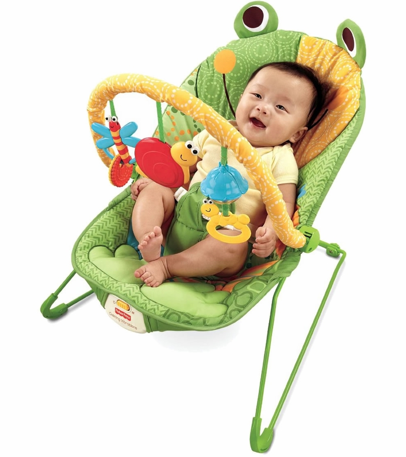 infant bouncy chair black living room chairs fisher-price baby bouncer seat in frog green