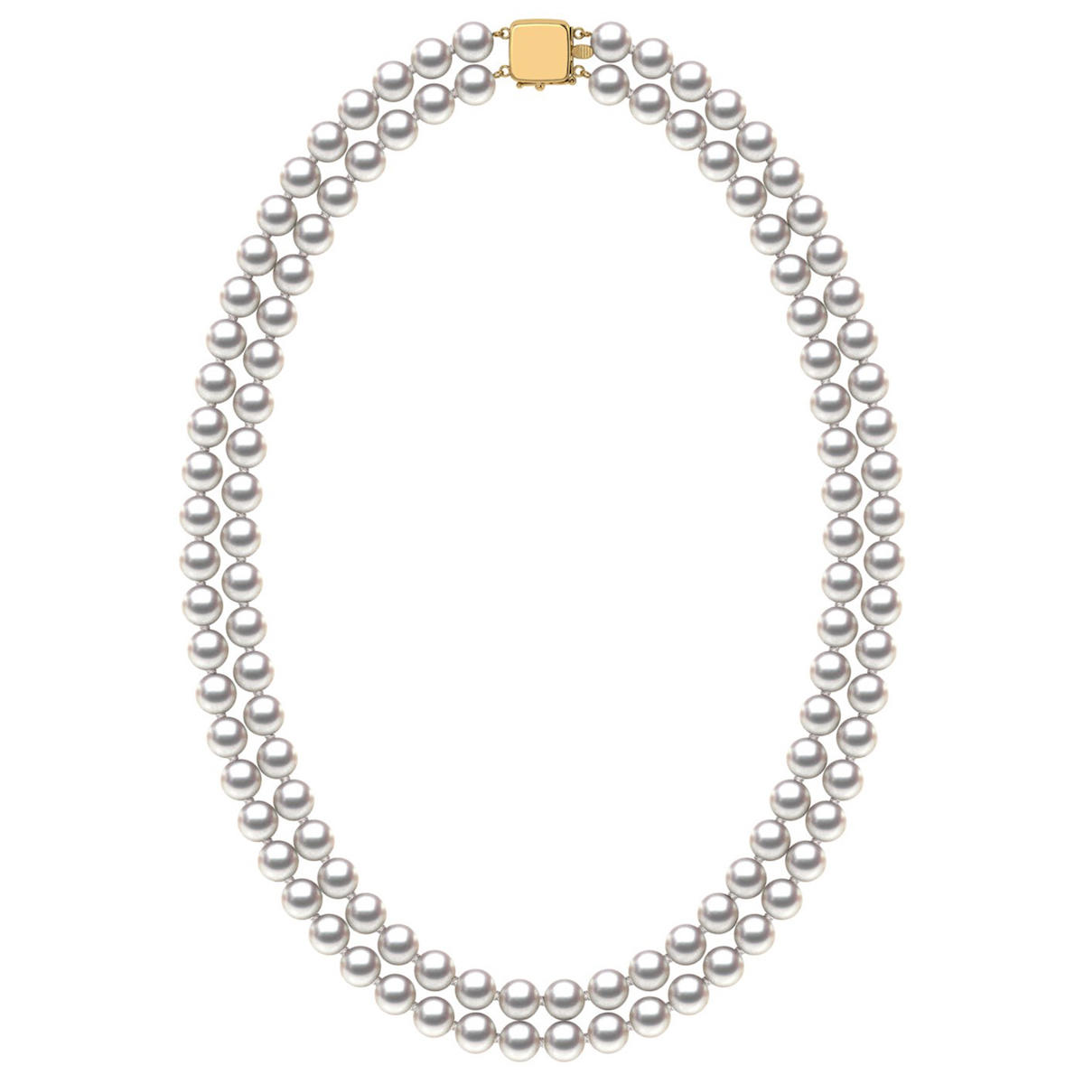 7.0-7.5 mm Double-Strand White Akoya Pearl Necklace