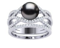 Tahitian Pearl Rainbow Engagement Ring with Wedding Band ...