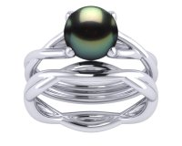 Tahitian Pearl Twisted Shiny Engagement Ring and Wedding ...