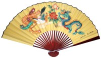 Large Chinese Wall Fan - Dragon & Phoenix, Oriental Wall ...
