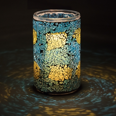 """6"""" Yellow and Turquoise Mosaic Shattered Glass Votive Tea"""