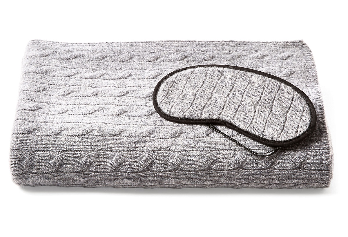 cashmere travel blanket and pillow set