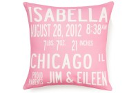 custom birth announcement pillow featured at babybox.com