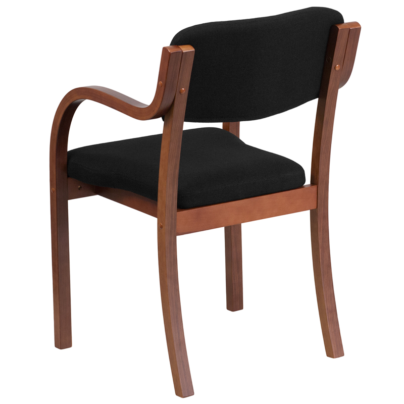 Contemporary Walnut Wood Side Reception Chair with Arms