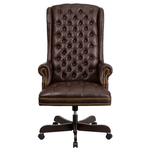 tufted leather executive office chair High Back Traditional Tufted Brown Leather Executive