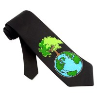 Celebrate Earth Day Black Micro Tie Necktie  Mens