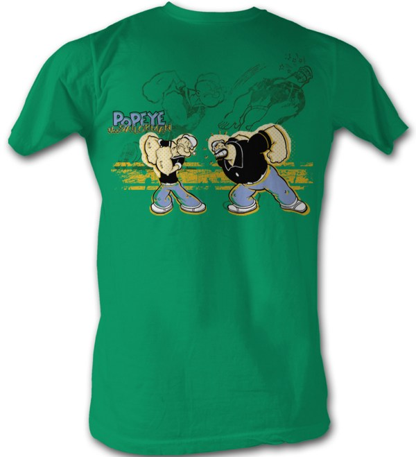 Popeye T Shirt - Punch Brutus Adult Kelly Green Tee