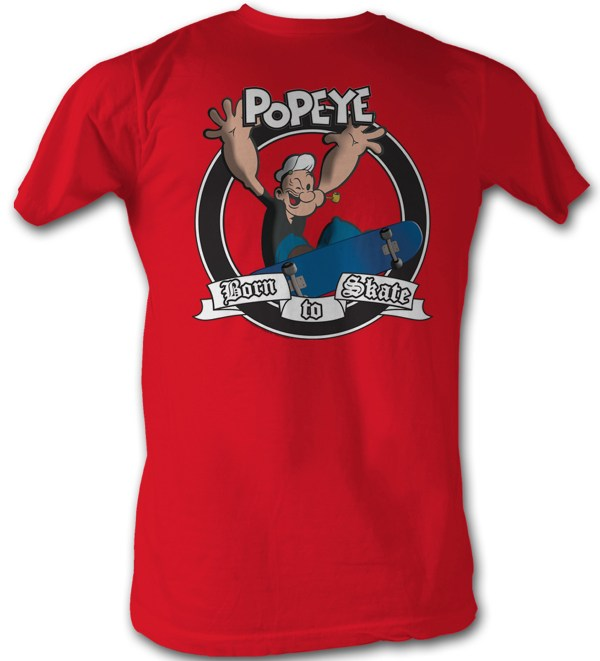 Popeye T-shirt Sailor Man Born Skate Adult Red Tee