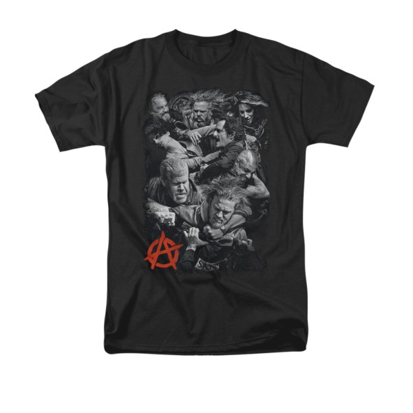 Sons Of Anarchy Shirt Group Fight Black T-shirt - Soa Shirts