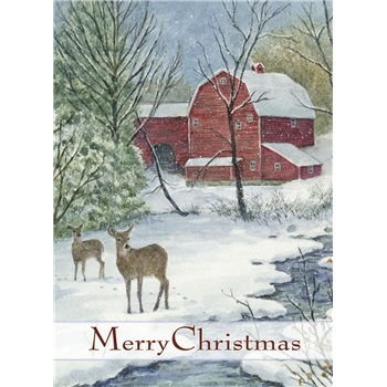 Boxed Christmas Cards Red Barn Amp Deer
