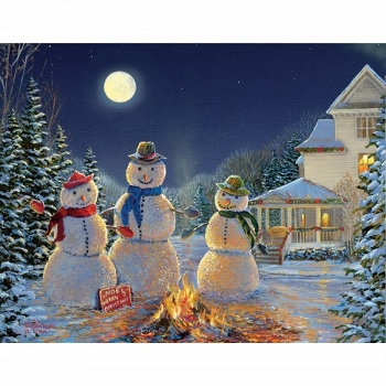 Lang Boxed Christmas Cards Moonlit Snowmen Artist