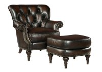 Leather Accent Chair With Tufted Back Design