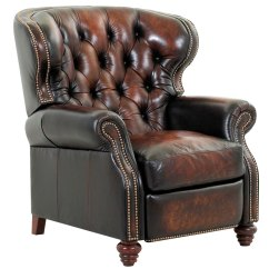 Traditional Leather Wingback Chair Oversized And Ottoman Chesterfield Tufted Recliner W Nailhead Trim