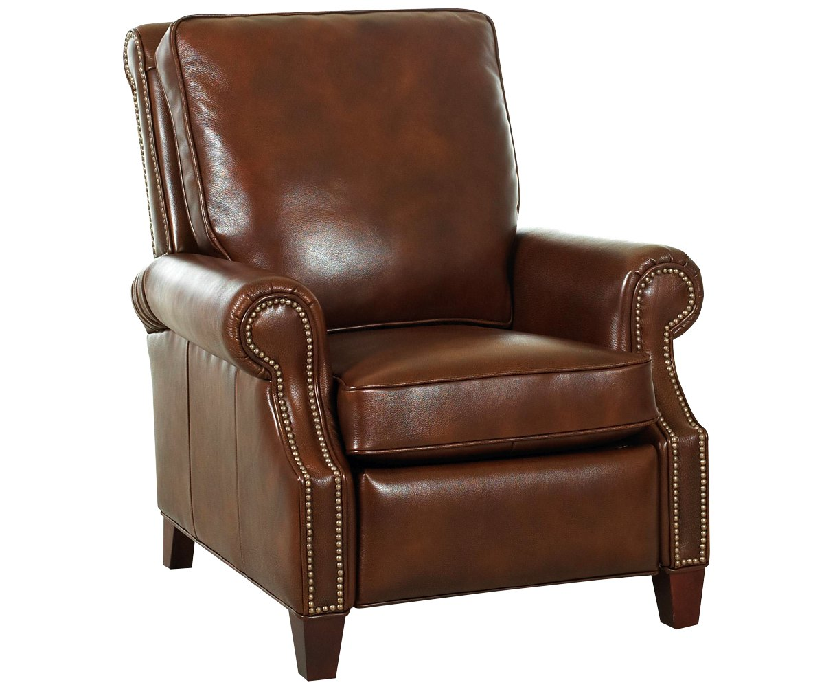 Leather Pillow Back Recliner w Nail head Trim  Rolled Arms