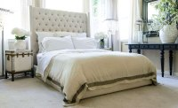 Tufted Fabric Platform Bed With Tall Headboard | Club ...
