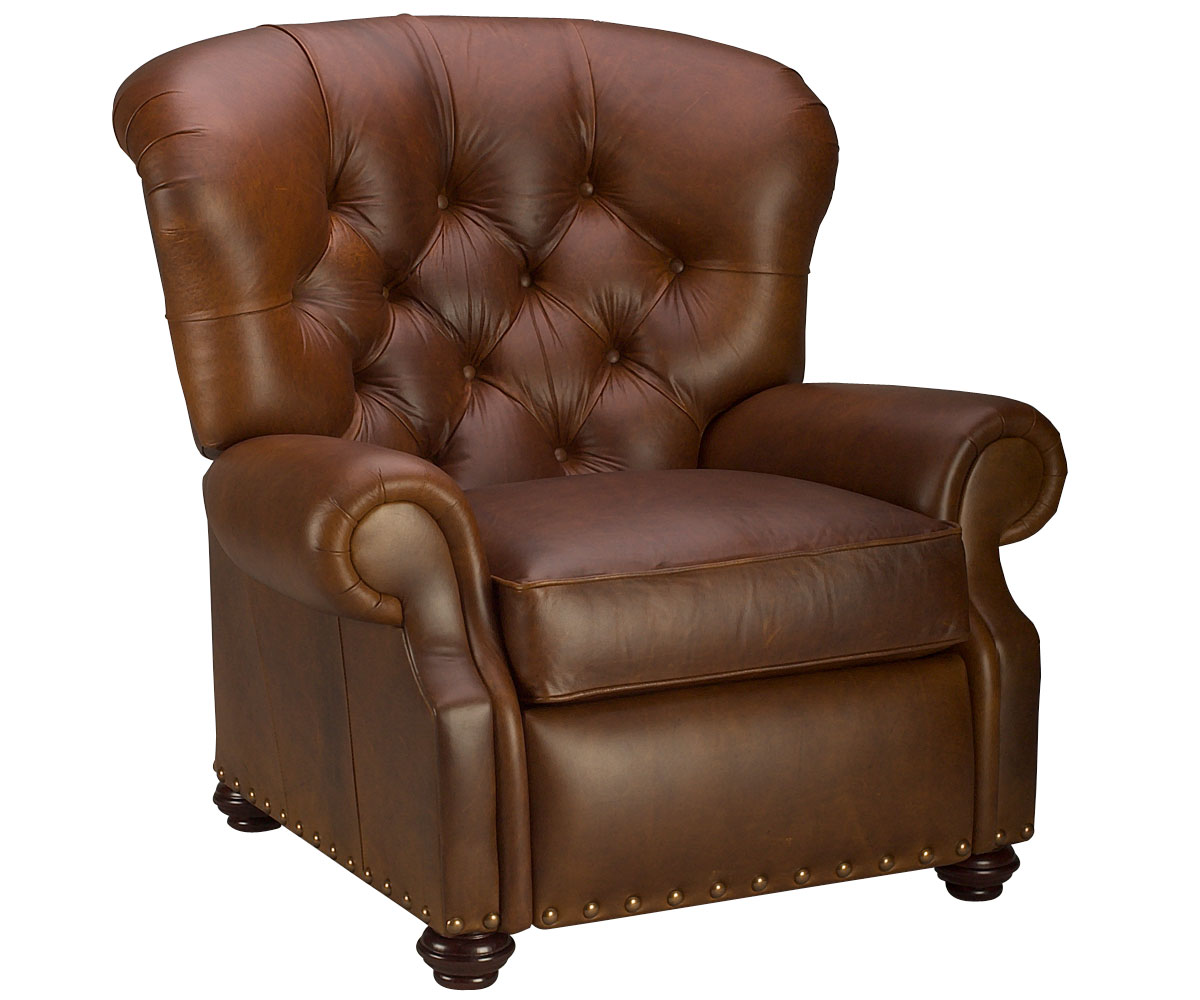 Tufted Leather Chair Large Tufted Back Leather Recliner Chair